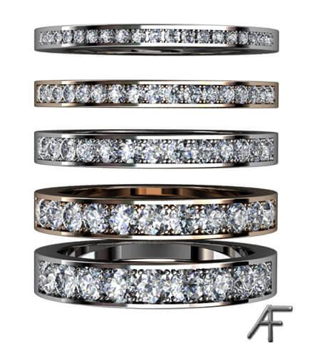 alliansringar i olika bredd med diamanter
