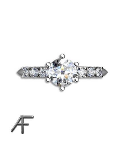 vitguldsring med center diamant