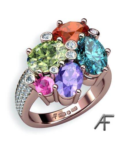 guldring med färgstenar och diamanter - Candy