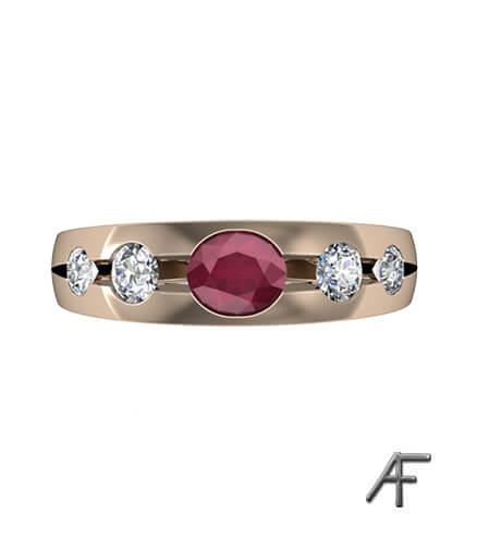 alliansring av lordrings stil med rubin och diamanter