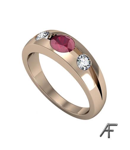 oval rubin och diamanter vigselring