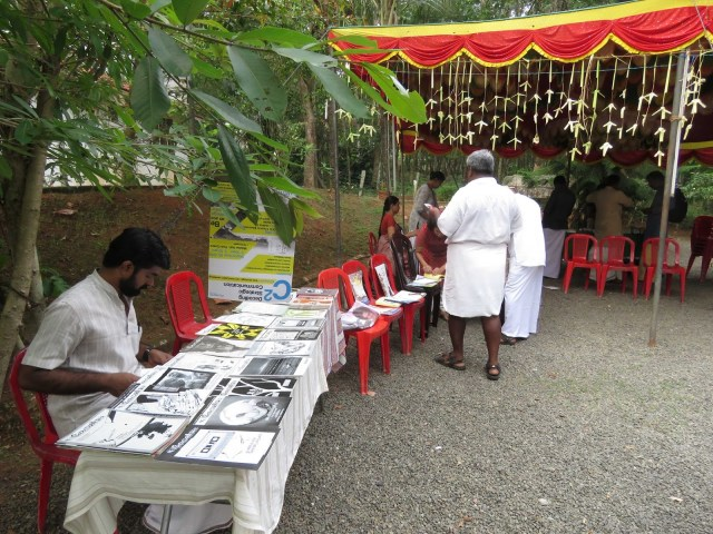 A few (too few!) stalls of literature and local products were set up at the Sangam