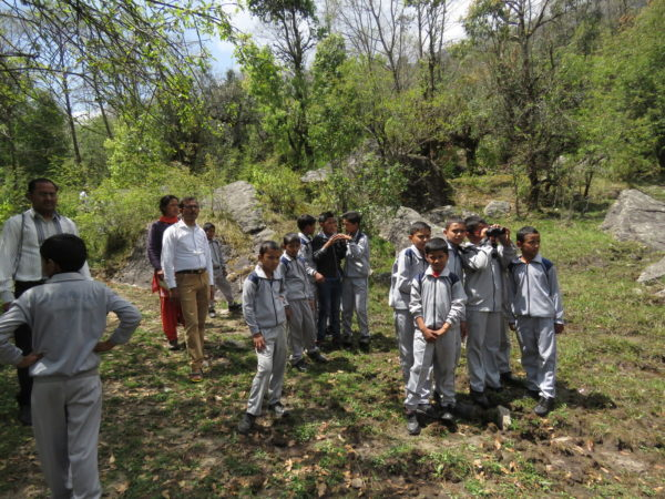Village kids on a birding trip in the Indian Himalayas