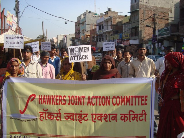 Protest by Hawkers Joint Action Committee against violence on women