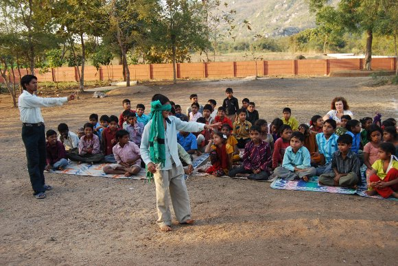 Learning through games at Vasant Shala, Adivasi Academy, Vadodara.