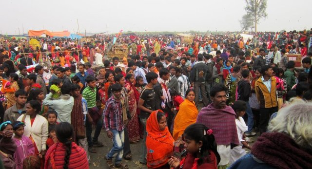 People at the Bonbibi fair in Ramrudrapur; according to the organisers, the number of participants is increasing every year