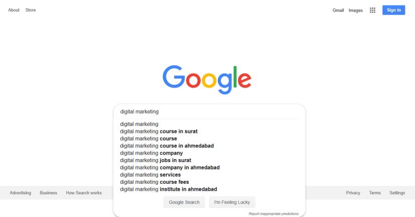 Google Suggest for Keyword digital marketing