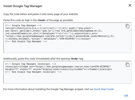 GTM code snippet screenshot