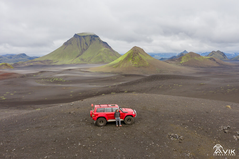 Red Super Jeep in the Icelandic Highlands