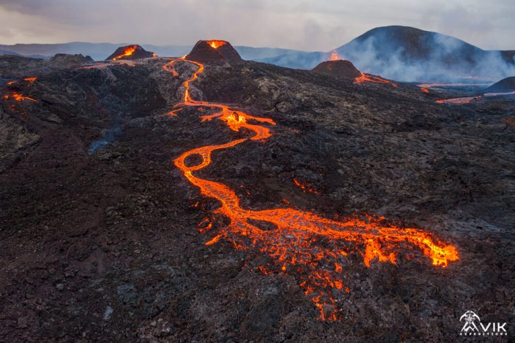 Iceland Active Volcano from Drone