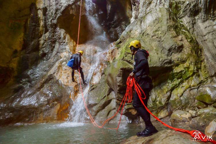 Canyoneering in Iceland at Waterfall