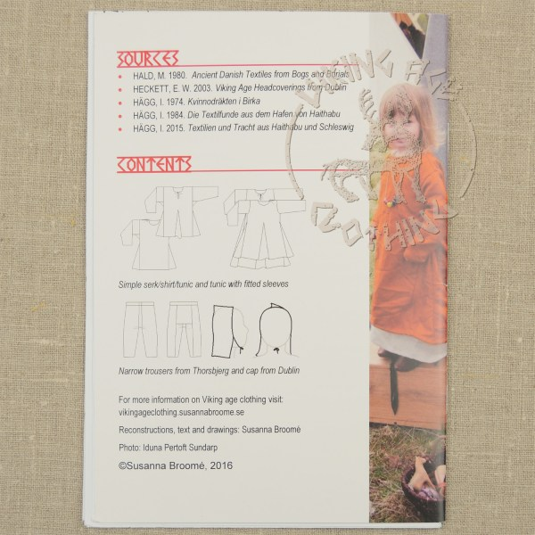Children's clothing booklet - back