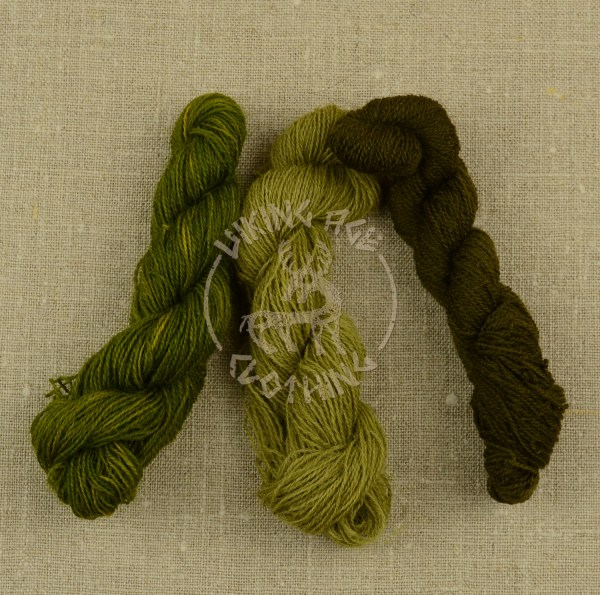Plant-dyed Mora redgarn - bright green, olive green and dark olive