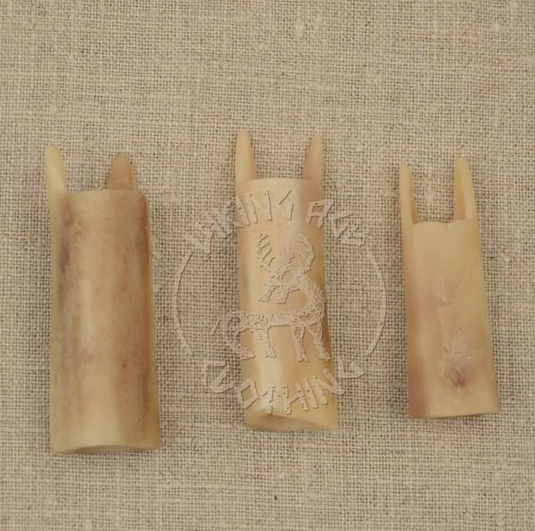 Handmade bone lucets, front