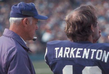 Tarkenton's usual place on the sidelines was right next to Coach Grant.