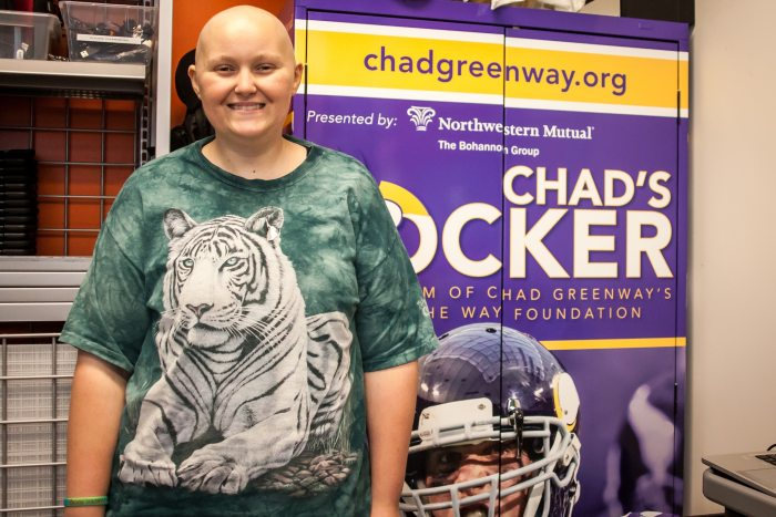 Jaimie Senger, a patient at Children's Hospital Minneapolis, benefits daily from Chad's locker.  (photo by Lindsey Young)