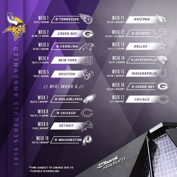 Minnesota Vikings 2016 Schedule