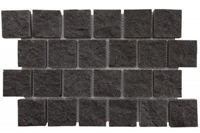 Basalt - Jet Black Hand Cut Interlocking Cobble