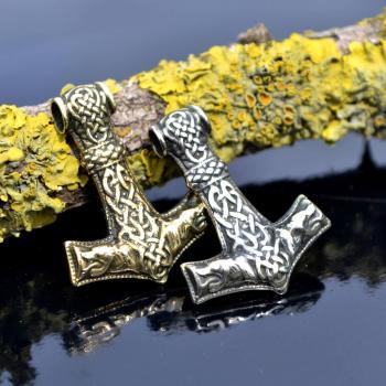 Фото застёжка / кулон из латуни молот Тора Мьёльнир