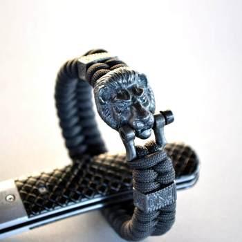 Фото мужской браслет на руку с застежкой голова льва