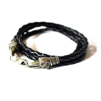 Фото плетеный браслет намотка с воронами из нейзильбера