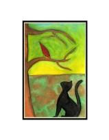 curious cat framed