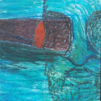 Becoming One with Fear  3   38in x 44in   Mixed Media   2008