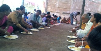 Prasadam, a religious offering food to all people come to see Rash Yatra at Basirhat Lalita Mandir