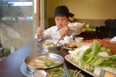 hot pot. you get raw food and cook it by yourself / сам себе повар :)