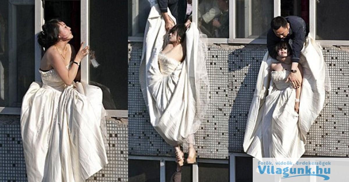 Faképnél hagyta a vőlegénye az oltárnál, majd ki akart ugrani az balakon, de az utolsó pillanatban elkapta valaki...