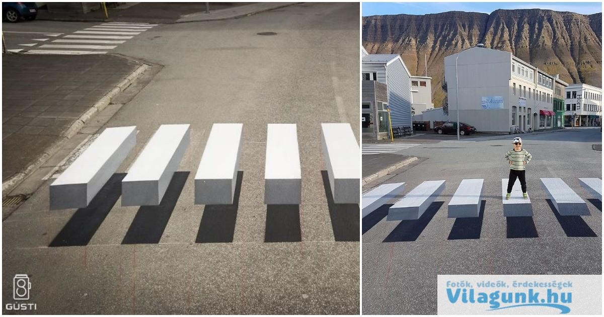 Az izlandiak új közlekedés lassító megoldása a lebegő zebra!
