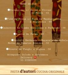 Restaurante Pasta d'autori faz entregas de pratos executivos e a la carte 2