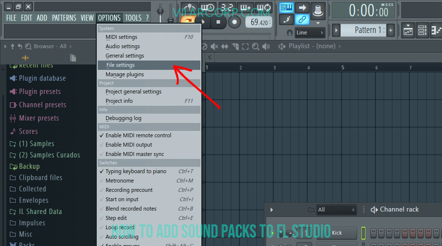 how to add sound packs to fl studio - file settings