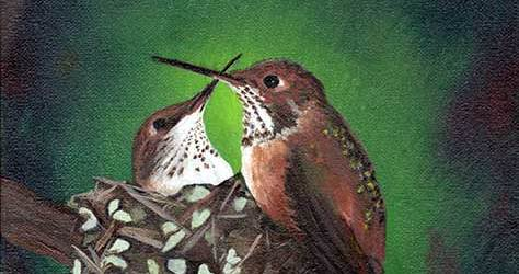 Image of painting of hummingbirds by Darla Kay Boljat