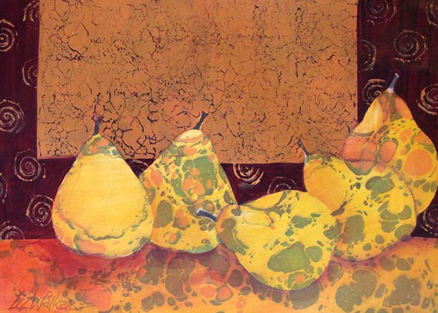 Image of acrylic artwork - Golden Pears - by VGA artist Liz Walker, NWS