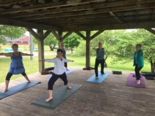 Local residents enjoying a Yoga session in the Gazebo