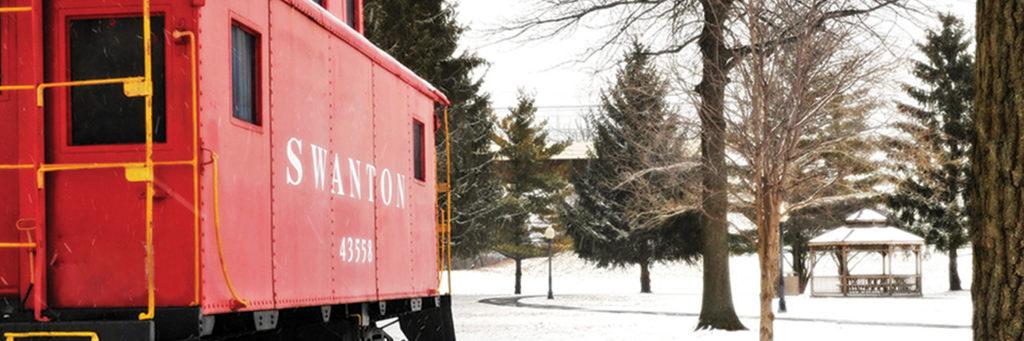 Pilliod Park Swanton train caboose in the winter