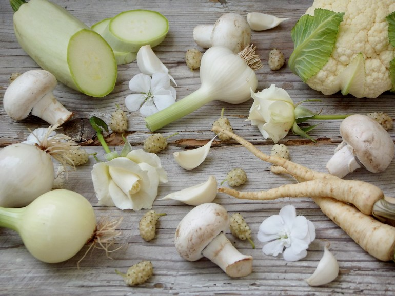 White vegetables, fruits and flowers