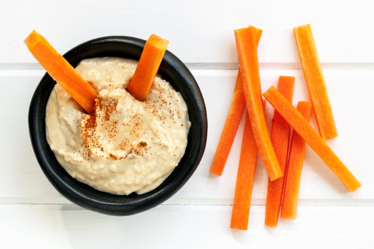 Hummus with Carrot Sticks Top View