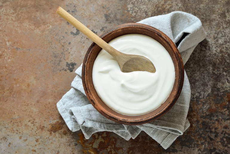 Homemade yogurt in rustic bowl.