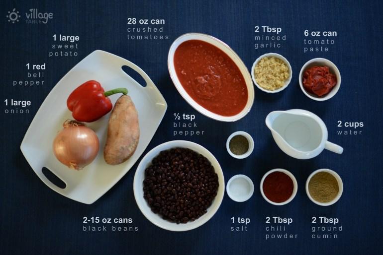 Sweet potato and black bean chili ingredients