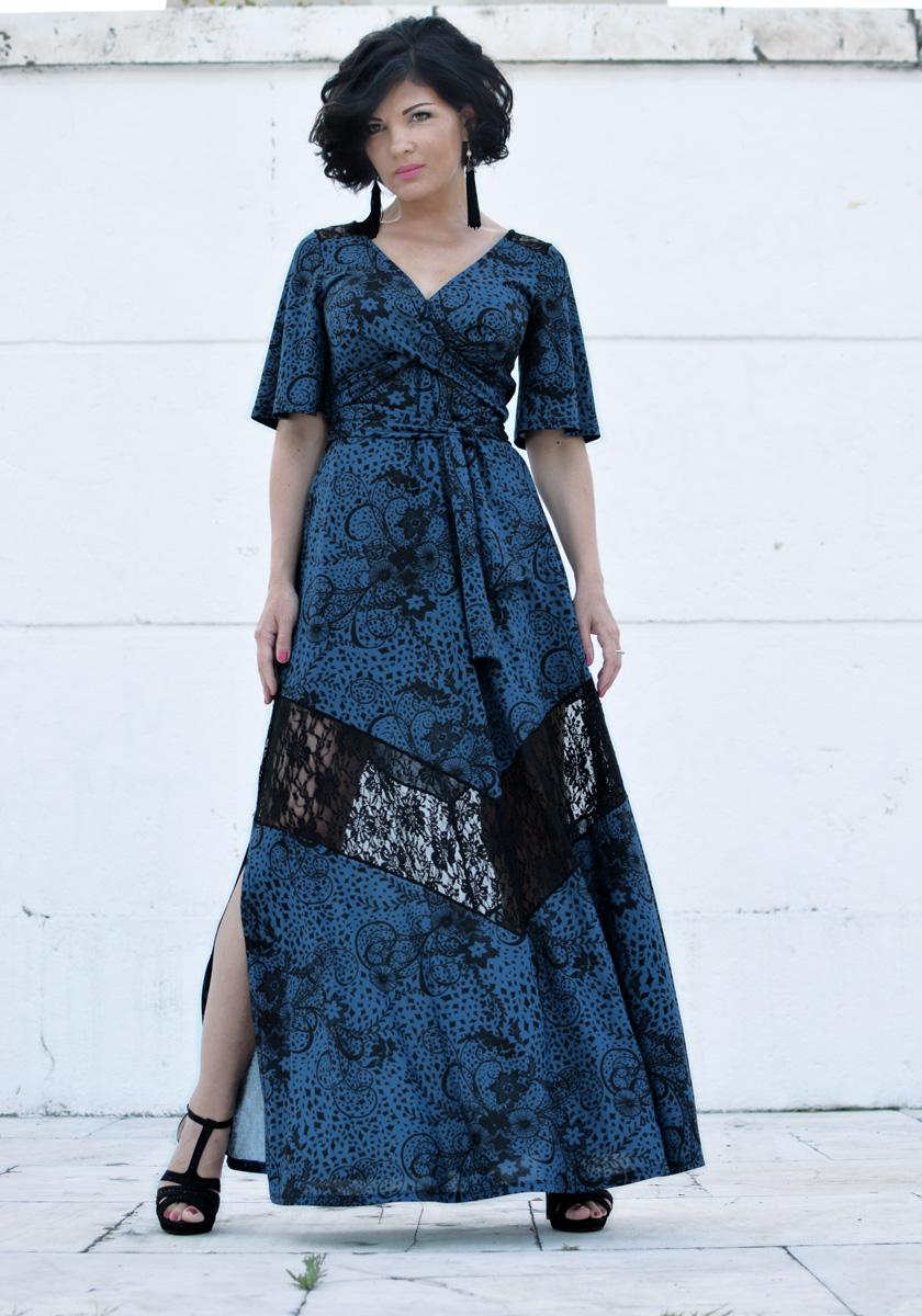 KIMONO MAXI DRESS WITH LACE