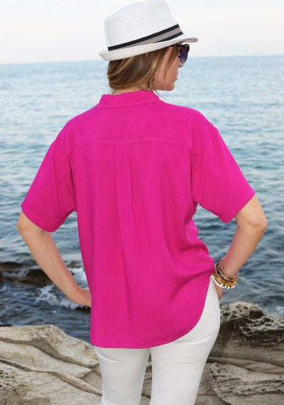 FUCHSIA LACE-UP SHIRT