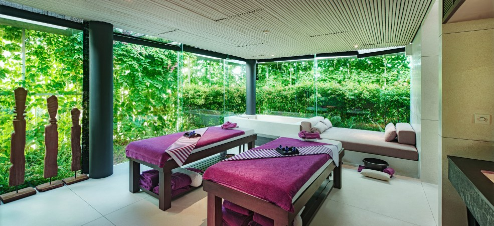 Pure Spa offers 15 luxury treatment rooms, male and female jacuzzi, sauna and steam rooms, gym and yoga pavilion