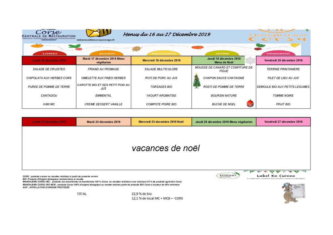 Menus cantine scolaire du 16 au 20 décembre 2019