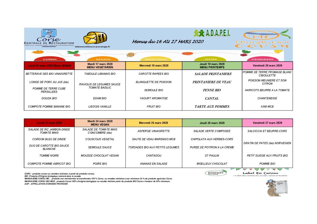 Menus cantine scolaire du 16 au 27 mars 2020