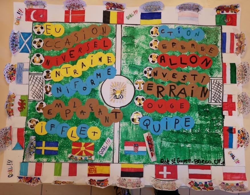 Le vendredi 26 mars, la classe de CM1 de MM. Le Fur et Beveraggi de l'école St-Exupéry a remporté le concours culturel régional de la Fédération Française de Football en réalisant une production artistique en lien avec le thème « Foot d'Europe » (joueur-se, arbitre, supporter/trice). Elle représentera la région Corse à l'échelon national.  Félicitations et bonne chance à nos 24 élèves !!!