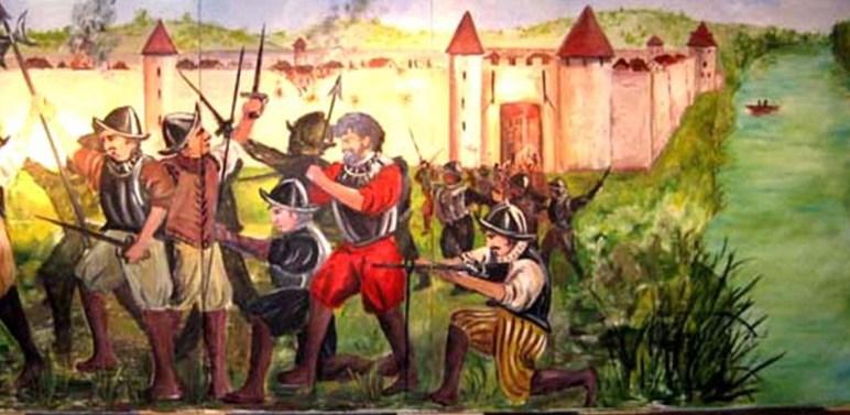 peinture evoquant la bataille