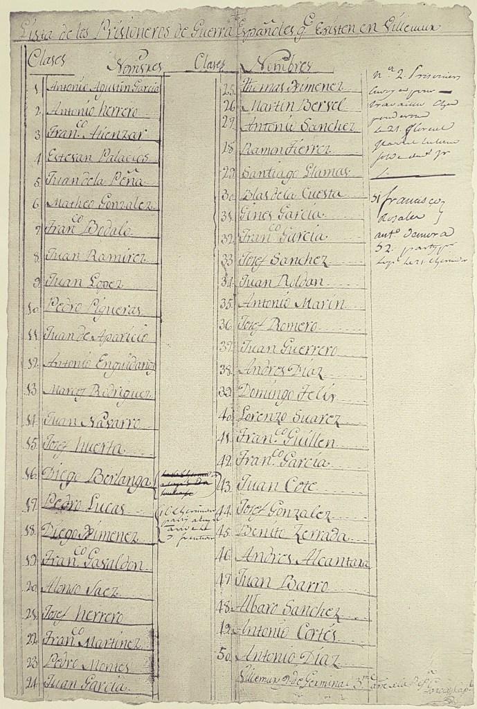 liste prisonniers