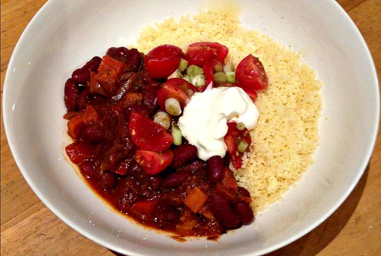 chilli beans with couscous